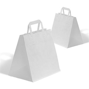 White Patisserie Carrier Bags  (Flat Handles)
