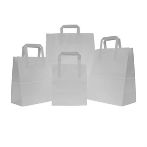 White Flat Handle Paper Carrier Bags