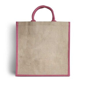 Luxury Padded Handles Natural Jute Bag with Pink Trim