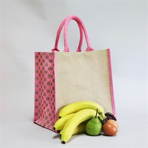 Luxury Padded Handles Natural Jute Bag with Pink Polka Dot Trim