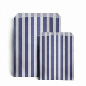 Candy Striped Dark Blue Paper Bags