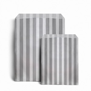 Grey Candy Stripe Paper Party Bags