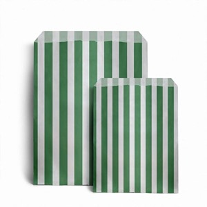 Candy Striped Green Paper Bags