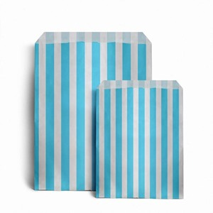 Candy Striped Light Blue Paper Bags