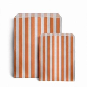 Candy Striped Orange Paper Bags