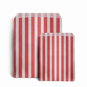 Candy Striped Red Paper Bags