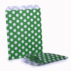 Green Polka Dot Paper Party Bags
