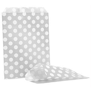 Silver Polka Dot Counter  Paper Bags