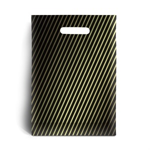 Striped Black and Gold Plastic Carrier Bags