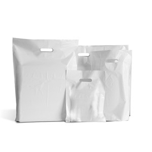 Patch Handle White  Plastic Carrier Bags
