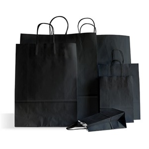 Premium Italian Black Paper Carrier Bags with Twisted Handles
