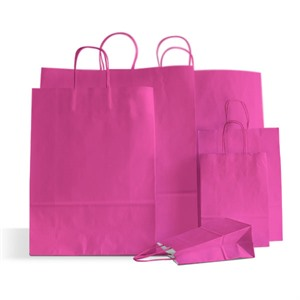 Premium Italian Magenta Paper Carrier Bags with Twisted Handles