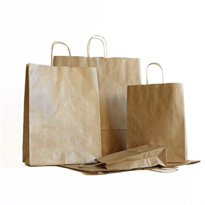 Value Recycled Brown Paper Carrier Bags with Twisted Handles (Unribbed)