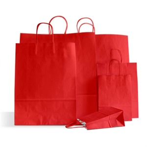 Premium Italian Cherry Red Paper Carrier Bags with Twisted Handles