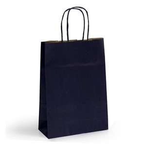 Premium Italian Dark Blue Paper Carrier Bags with Twisted Handles