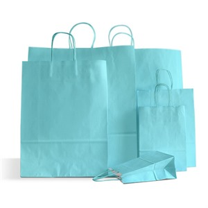 Premium Italian Light Blue Paper Carrier Bags with Twisted Handles
