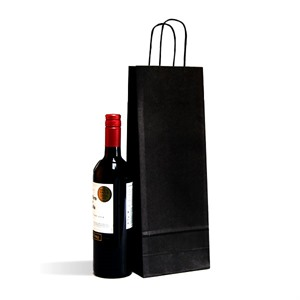 Italian Black  One Bottle Paper Bag with Twisted Handles