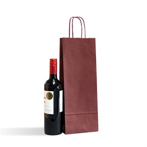 Italian Bordeaux One Bottle Paper Bag with Twisted Handles