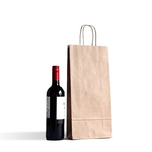 Italian Brown  One Bottle Paper Bag with Twisted Handles