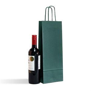 Italian Green One Bottle Paper Bag with Twisted Handles