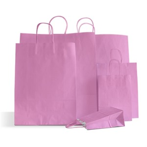 Premium Italian Pink Paper Carrier Bags with Twisted Handles
