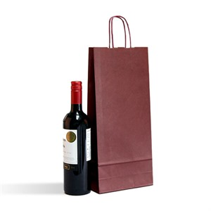 Italian Bordeaux Two Bottle Paper Bag with Twisted Handles