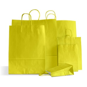Premium Italian Yellow Paper Carrier Bags with Twisted Handles