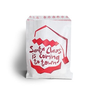 Red Santa Print White Kraft Paper Bag
